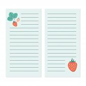 Journal/planner Pages Template With Strawberries Cute Blue Journal poster