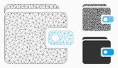 Mesh Wallet Model With Triangle Mosaic Icon. Wire Carcass Triangular Mesh Of Wallet. Vector Mosaic O poster