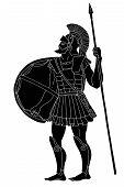 Ancient Greek Warrior With A Spear And Shield In His Hands Is Ready To Attack. Vector Illustration I poster