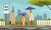 People Wearing Overcoats Waiting At Bus Stop Under Umbrellas In Rainy Weather Flat Composition Citys poster