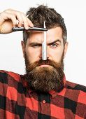 Vintage Straight Razor. Mens Haircut. Man In Barbershop. Handsome Bearded Hairdresser Is Holding A S poster