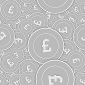 British Pound Silver Coins Seamless Pattern. Symmetrical Scattered Black And White Gbp Coins. Succes poster