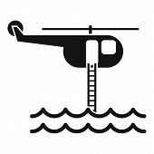 Flood Rescue Helicopter Icon. Simple Illustration Of Flood Rescue Helicopter Vector Icon For Web Des poster