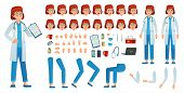 Cartoon Female Doctor Creation Kit. Medic Woman Kit, Healthcare Doctors Profession Character And Pha poster