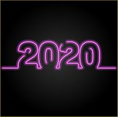 2020 Number Neon Glow Effect On Black Background,number For Calendar, Happy New Year 2020,2020 Begin poster