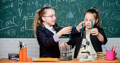 Educational Experiment Concept. Girls Classmates Study Chemistry. Microscope And Test Tubes On Table poster