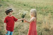 Romantic And Love. Childcare. Valentine. The Concept Of Child Friendship And Kindness. Happy Valenti poster