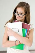 picture of eminent  - Funny portrait of eminent cute young brunette student girl - JPG