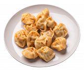 Dumplings On A Light Gray Plate Isolated On White Background. Dumplings In Tomato Sauce. Dumplings T poster