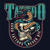 Vintage Tattoo Studio Colorful Label With Snake Entwined With Skull On Dark Background Isolated Vect poster