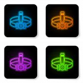 Glowing Neon Head Flashlight Icon Isolated On White Background. Tourist Head Flashlight. Camping Hea poster