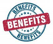 Benefits Stamp. Benefits Round Grunge Sign. Benefits poster