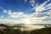 Beautiful Scenery Sunlight In The Morning Sunrise Above Flowing Fog Waves On Mountain Tropical Rainf poster