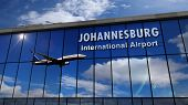 Jet Aircraft Landing At Johannesburg, South Africa, Rsa 3d Rendering Illustration. Arrival In The Ci poster