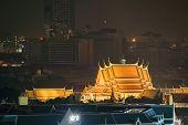Wat Pho Or Wat Phra Chetuphon Vimolmangklararm Rajwaramahaviharn At Night In Bangkok, Urban City, Th poster
