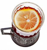 pic of melchior  - top view of black tea with lemon in vintage glass isolated on white background - JPG