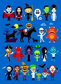 stock photo of reaper  - Monsters Mash Halloween Cartoon Characters including Vampires - JPG