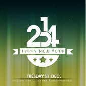 Shiny Happy New Year 2014 celebration party poster, banner or invitations on shiny green and yellow