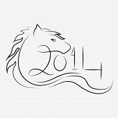 Happy New Year 2014 celebration poster, banner or flyer design with sketch of Chinese Symbol for the