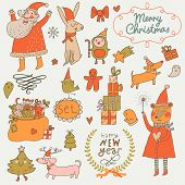 image of rabbit year  - Stylish New Year and Christmas set in vector - JPG