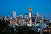 image of washington skyline  - Dusk over the expansive Seattle skyline Washington - JPG