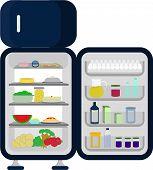 stock photo of butter-lettuce  - Open and full fridge of food like carrots apples lettuce watermelon cheesecake juice - JPG