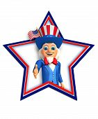 picture of uncle  - 3d rendered illustration of uncle sam isolated on the white background - JPG