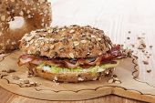 Whole Grain Bagel With Bacon.