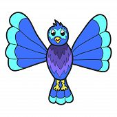 Cute Fantasy Bluebird. Vector Illustration
