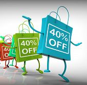 Forty-percent Off Bags Show Sales And 40 Discounts