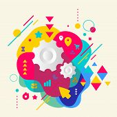 Cogwheel On Abstract Colorful Spotted Background With Different