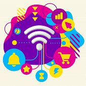 Wi Fi On Abstract Colorful Spotted Background With Different Icons And Elements
