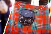 foto of kilt  - Color detail of a traditional Scottish kilt with a bag - JPG