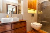 picture of bathroom sink  - Modern bathroom with a shower and vessel sink - JPG