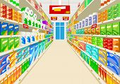 pic of supermarket  - Drawing inside the supermarket racks full of products - JPG