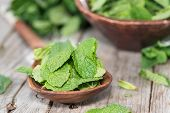 stock photo of mint-green  - Small Portion of fresh green Mint Leaves