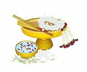 Jasmine Wreath with Water Bowl for Songkran Festival