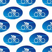 Cycling icon in a blue oval surround