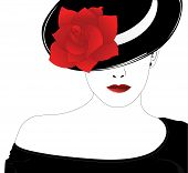 foto of red rose flower  - Vector silhouette of beautiful woman in a black hat with red rose - JPG