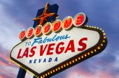 pic of las vegas casino  - Illuminated Fabulous Las Vegas Sign at sunset - JPG
