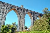 stock photo of aqueduct  - The Aqueduct Aguas Livres  - JPG