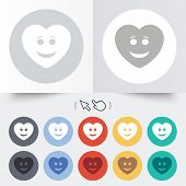 stock photo of lol  - Smile heart face sign icon - JPG