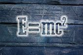 image of albert einstein  - Albert Einsteins Physical Formula Concept text on background - JPG