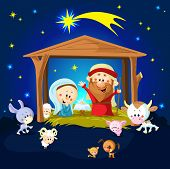 picture of bethlehem  - Nativity in Bethlehem with animals  - JPG