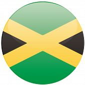 foto of jamaican flag  - a round badge with the jamaican flag on a white background - JPG
