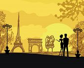 stock photo of french culture  - Romantic couple silhouette on sunset in Paris  - JPG