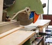 stock photo of joinery  - an elettric cirular saw in a joinery  - JPG