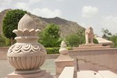image of jain  - staute of pot and elephant in jain temple ajmer rajasthan - JPG