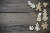 pic of ginger bread  - Decorated Ginger Bread Cookies on Wood with Copy Space for Your Text - JPG