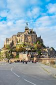 stock photo of michel  - road to Abbey of Mont Saint Michel - JPG